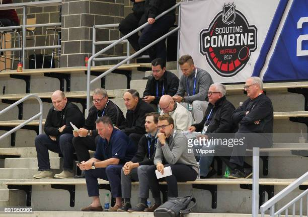 Team personnel watch the testing during the NHL Combine at HarborCenter on June 3 2017 in Buffalo New York