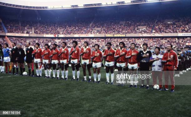 Team Peru line up during the International Friendly match between France and Peru at Parc des Princes in Paris on April 28th 1982
