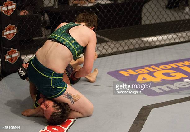Team Pettis fighter Aisling Daly controls the body of team Melendez fighter Angela Magana during filming of season twenty of The Ultimate Fighter on...