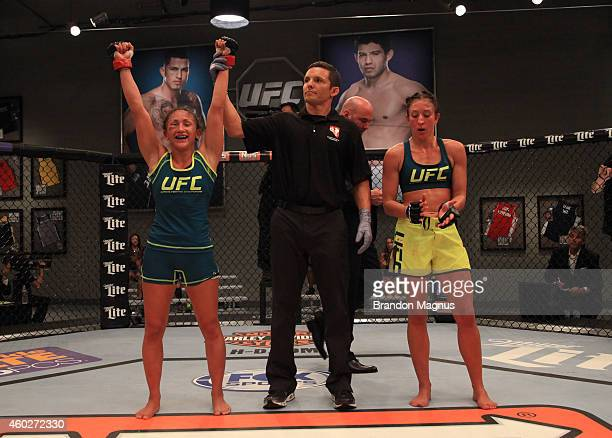 Team Pettis fighter Carla Esparza celebrates her win over team Pettis fighter Jessica Penne during filming of season twenty of The Ultimate Fighter...