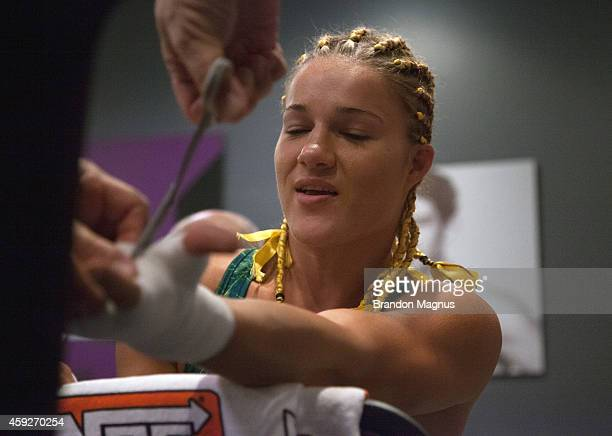 Team Pettis fighter Felice Herrig gets her hands wrapped before facing team Pettis fighter Randa Markos during filming of season twenty of The...