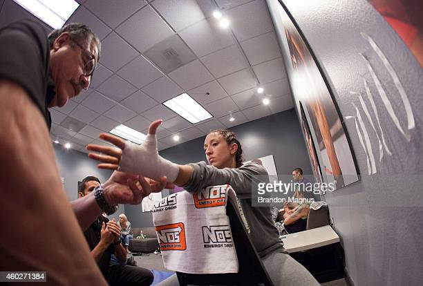 Team Pettis fighter Jessica Penne gets her hands wrapped before facing team Pettis fighter Carla Esparza during filming of season twenty of The...