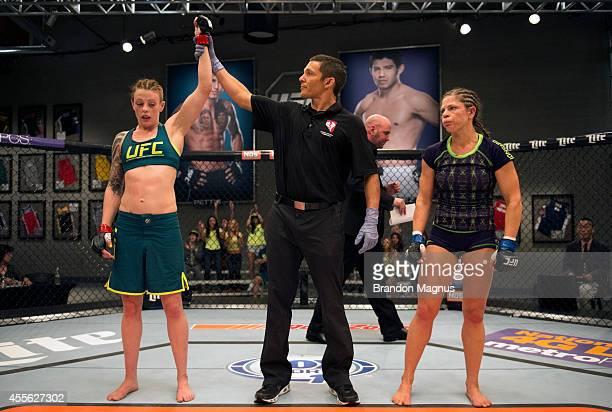 Team Pettis fighter Joanne Calderwood celebrates her victory over team Melendez fighter Emily Kagan during filming of season twenty of The Ultimate...