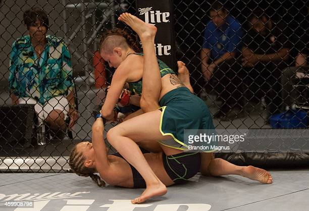 Team Pettis fighter Joanne Calderwood controls the body of team Melendez fighter Rose Namajunas in the quarterfinals during filming of season twenty...