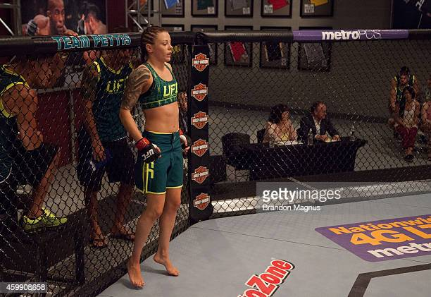 Team Pettis fighter Joanne Calderwood enters the octagon before facing team Melendez fighter Rose Namajunas in the quarterfinals during filming of...