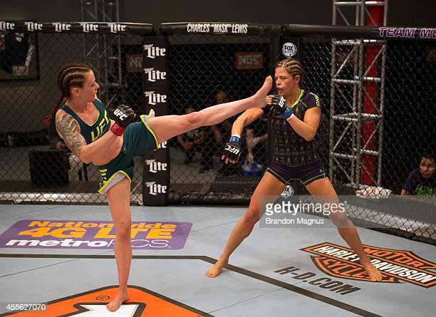 Team Pettis fighter Joanne Calderwood kicks team Melendez fighter Emily Kagan during filming of season twenty of The Ultimate Fighter on July 10 2014...