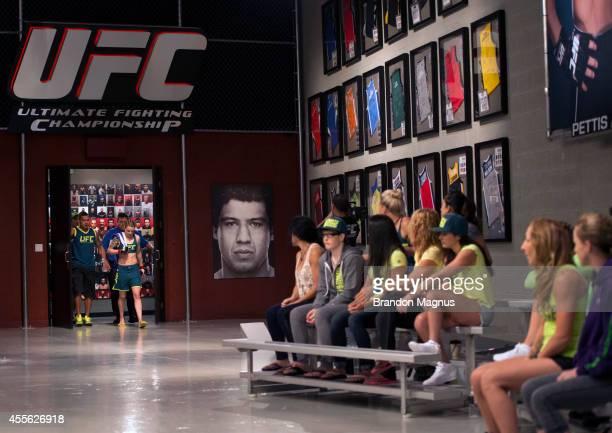 Team Pettis fighter Joanne Calderwood prepares to enter the Octagon before facing team Melendez fighter Emily Kagan during filming of season twenty...
