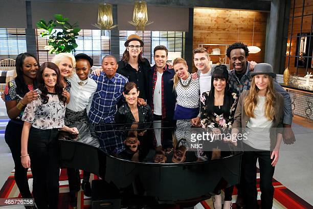 THE VOICE Team Pharrell Battle Reality Episode 805 Pictured Briar Jonnee Caitlin Caporale Meghan Linsey Kimberly Nichole Pharrell Williams Ashley...