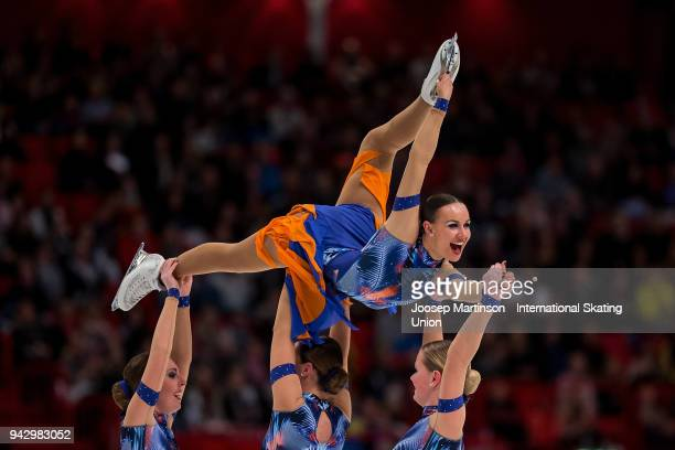 Team Phoenix of Belgium compete in the Free Skating during the World Synchronized Skating Championships at Ericsson Globe on April 7 2018 in...