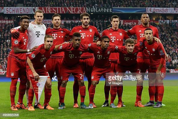 team photo Bayern Mnchen Top Row David Alaba of Bayern Munchen Manuel Neuer of Bayern Munchen Xabi Alonso of Bayern Munchen Javi Martinez of Bayern...