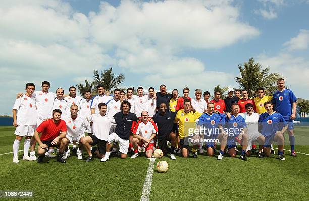 A team photo during the Laureus Football Challenge presented by IWC Schaffhausen as part of the 2011 Laureus World Sports Awards at the Emirates...