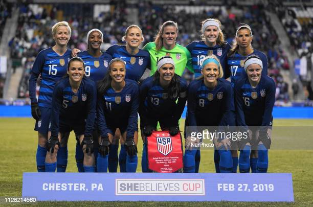 USA Team photo during the She Believes Cup football match between The United States and Japan at Talen Energy Stadium on February 27 2019 in Chester...