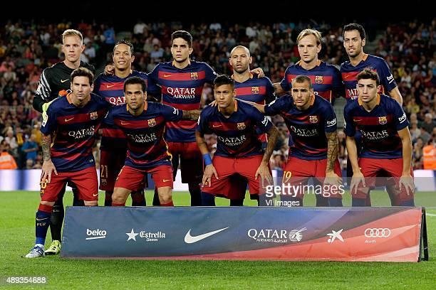 Team Photo FC Barcelona Top Row Marc Andre Ter Stegen of FC Barcelona Adriano Correia Claro of FC Barcelona Marc Bartra of FC Barcelona Javier...