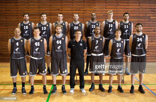 Team photo of Bizkaia Bilbao Basket during the 2011/12 Turkish Airlines Euroleague Basketball Media day at Polideportivo Fadura on October 6 2011 in...