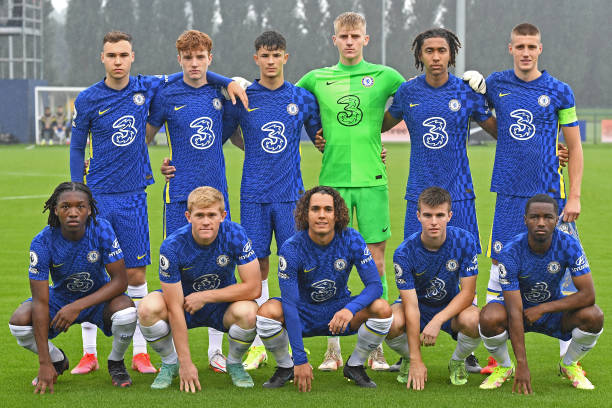 Team photo of Chelsea during the Chelsea v Zenit St Petersburg UEFA Youth League match on September 14th, 2021 in Cobham, England.