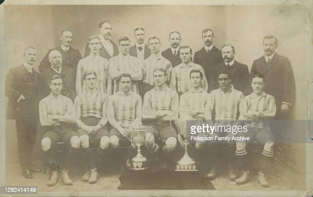 Team photo of Clapton FC, 1908 - 1909, winners of the FA Amateur Cup and London Senior Cup, and including Walter Tull . This photo is a postcard sent...