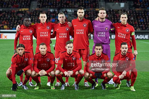 Team photo of FC Midtjylland prior to the UEFA Europa League Group Play match between FC Midtjylland and Club Brugge at MCH Arena on December 10 2015...