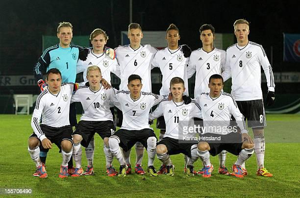 Team photo of Germany back row from left Goalkeeper Marius Fink Tim Bodenroeder Max Christiansen Thilo Kehrer Armando Tikvic Hendrik Lohmar front row...