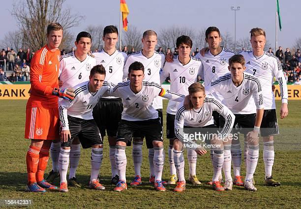 Team photo of Germany taken before the International Friendly match between U19 Germany and U19 France at Rheinstadium on November 14 2012 in Kehl...