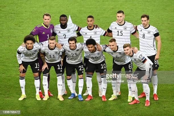 Team photo of Germany. Upper row: Manuel Neuer, Antonio Ruediger, Thilo Kehrer, Niklas Suele, Leon Goretzka. Lower Row: Leroy Sane, Marco Reus, Jonas...