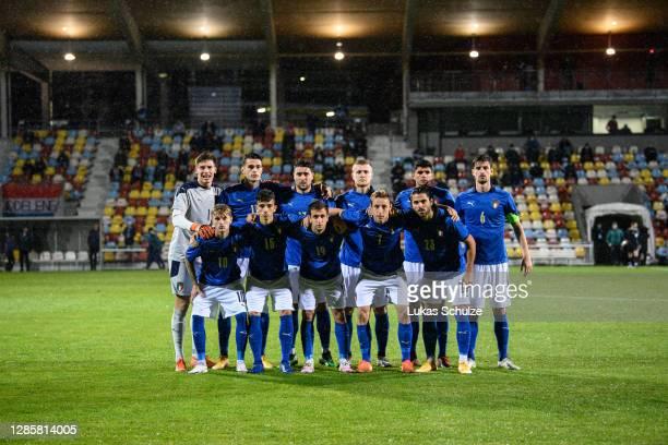 Team photo of Italy - front row l-r: Nicolo Rovella, Enrico Del Prato, Marco Sala, Davide Frattesi, Riccardo Scottil - 2nd row l-r, Goalkeeper Marco...