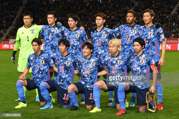 Team photo of Japan during the international friendly match between Japan and Venezuela at the Panasonic Stadium Suita on November 19 2019 in Suita...