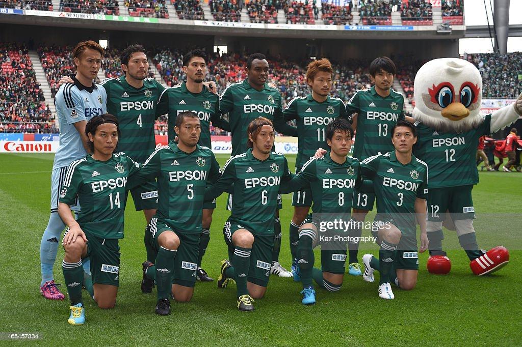 Team photo of Matsumoto Yamada during the J. League match between Nagoya Grampus and Matsumoto Yamaga at Toyota Stadium on March 7, 2015 in Toyota, Japan.