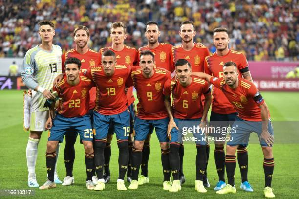 Team photo of Spain prior to the match against Romania during UEFA Euro 2020 Group F qualifier football match on National Arena stadium in Bucharest...