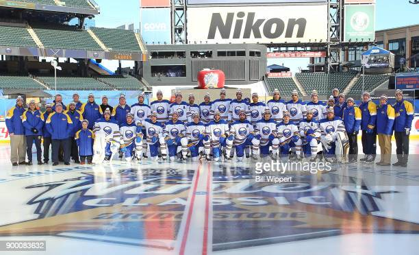 Team photo of the Buffalo Sabres at Practice Day for the 2018 Bridgestone NHL Winter Classic at Citi Field on December 31 2017 in New York New York