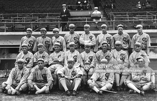 Team photo of the Chicago White Sox during the 1917 season at Comiskey Park in Chicago Illinois Top row Eddie Collins Buck Weaver Eddie Cicotte Chick...
