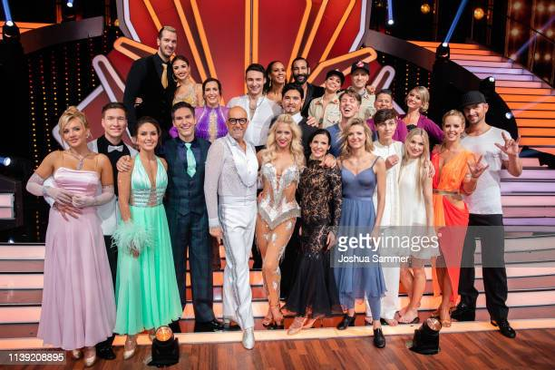 Team photo of the last 12 teams pose on stage after the 2nd show of the 12th season of the television competition Let's Dance on March 29 2019 in...