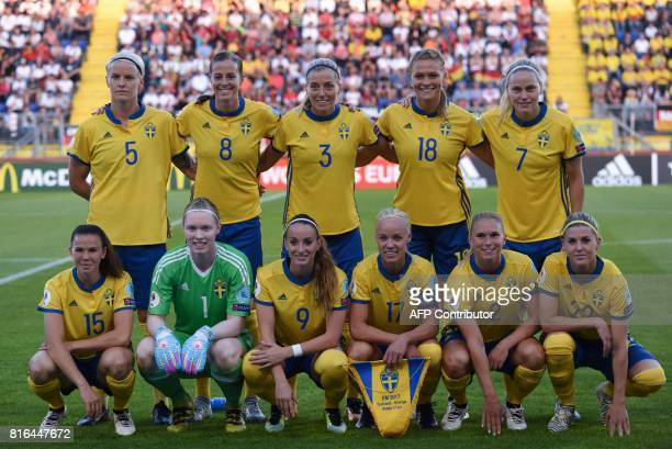 Team photo of the Swedish team prior the UEFA Womens Euro 2017 football tournament between Germany and Sweden at Rat Verlegh Stadium in Breda city on...