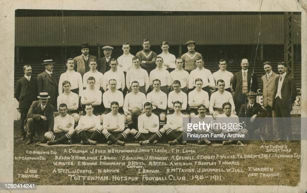 Team photo of Tottenham Hotspur FC 1910 - 1911 including Walter Tull . This photo is a postcard sent by Walter Tull to his older brother Edward who...