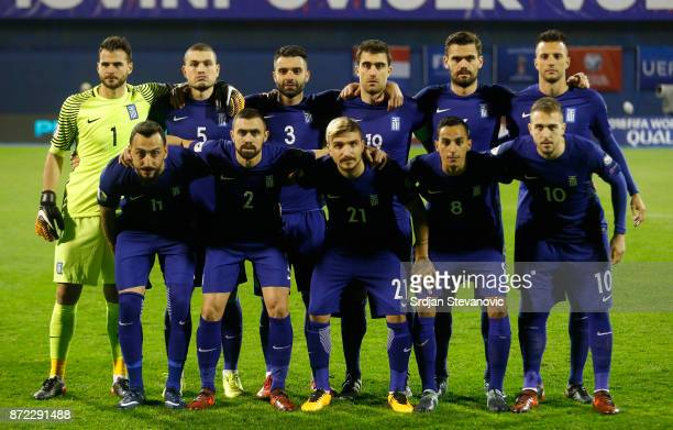 Team photo players of Greece goalkeeper Orestis Karnezis Kyriakos Papadopoulos Giorgos Tzavellas Sokratis Papastathopoulos Alexandros Tziolis Andreas...