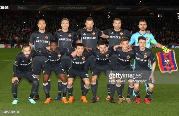 CSKA team photo prior to kickoff during the UEFA Europa League quarter final leg one match between Arsenal FC and CSKA Moskva at Emirates Stadium on...