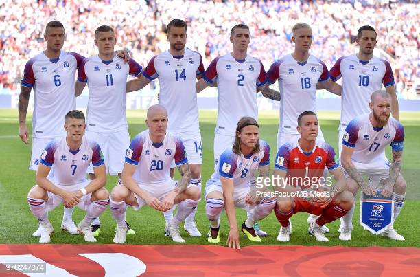 Team photo Ragnar Sigurdsson of Iceland Alfred Finnbogason of Iceland Kari Arnason of Iceland Birkir Saevarsson of Iceland Hordur Magnusson of...