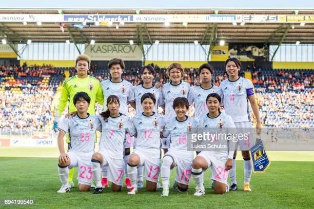 Team photo with Goalkeeper Ayake Yamashita Yuika Sugasawa Ayumi Oya Mizuho Sakaguchi Mina Tanaka Saki Kumagai and Nana Ichise Emi Nakajima Hikaru...