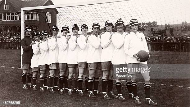 A team photograph of Dick Kerr Ladies football team founded in Preston Lancashire during World War One who were undefeated British champions during...