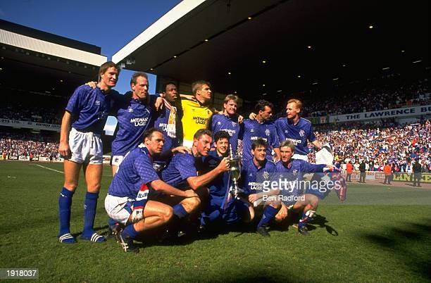 Team photograph of Rangers football team the Premier League champions after the match between Aberdeen and Rangers at Pittodrie Park in Aberdeen...