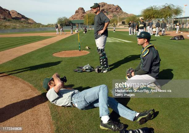 Team photographer Michael Zagaris gets a low angle on A's catcher Landon Powell. Powell hit 15 home runs for the Sacramento River Cats in 2008. He's...