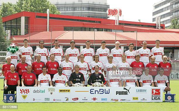 Team picture during the team presentation of VFB Stuttgart for the Bundesliga Season 2005 2006 on June 30 2005 in Stuttgart Germany Front row...