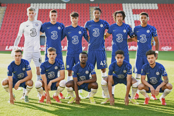Team Picture of Chelsea prior to the Exeter City v Chelsea U21 Leasing.Com Trophy match at St James Park on August 24, 2021 in Exeter, England.