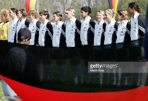 Team picture of Germany before the nations match between Germany and Canada at the Friedrich-Ebert-Stadion on April 24, 2005 in Hildesheim, Germany.