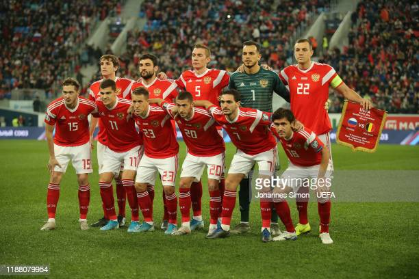 Team picture of the Russian team prior to the UEFA Euro 2020 Qualifier between Russia and Belgium on November 16 2019 in Saint Petersburg Russia