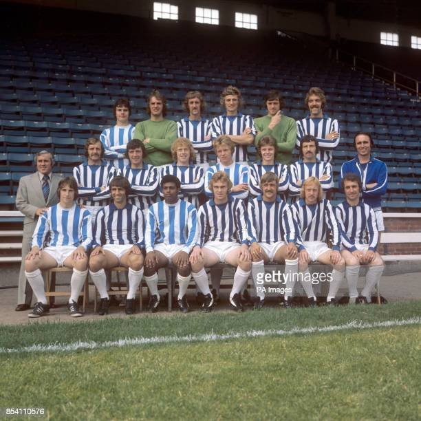 Team picture taken at Leeds Road of Huddersfield Town AFC Back row Peter Hart Dick Taylor Terry Dolan John Saunders Terry Poole and Stephen Baines...