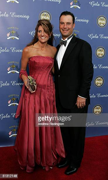 USA team player Chris DiMarco with his wife Amy DiMarco arriving at the 35th Ryder Cup Matches Gala Dinner at the Fox Theater on September 15 2004 in...