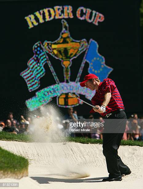Team player Jim Furyk plays a bunker shot on the 18th hole during his morning four-ball match against Sergio Garcia and Lee Westwood of Europe at the...