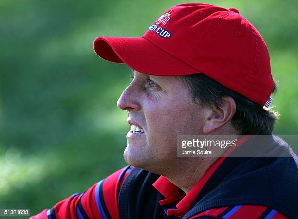 Team player Phil Mickelson watches the play during the morning four-ball matches at the 35th Ryder Cup Matches on September 18, 2004 at the Oakland...