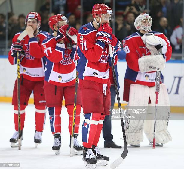 CSKA team players is seen after a match between PHC CSKA HC Metallurg in the playoff finals of the Kontinental Hockey League's Gagarin Cup in Moscow...