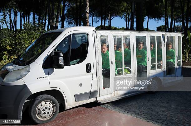 Team players of Borussia Moenchengladbach drive by car to training during a training session on day two of Borussia Moenchengladbach training camp on...